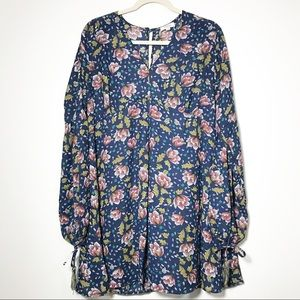 Umgee Autumn Floral Tie Long Sleeve Dress